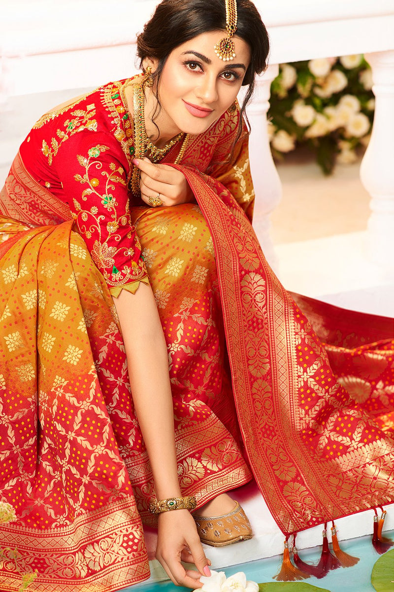 MARIGOLD ORANGE DESIGNER BANARASI SILK SAREE WITH CONTRAST RED DESIGNER BLOUSE