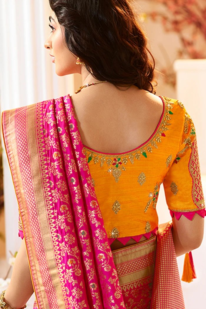 ROSE PINK DESIGNER BANARASI SILK SAREE WITH CONTRAST GOLDEN DESIGNER BLOUSE