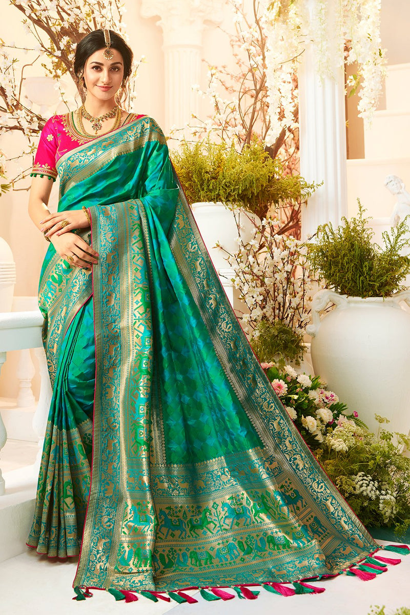 Glamorous Green and Blue Designer Banarasi Silk Saree With Contrast Pink Blouse