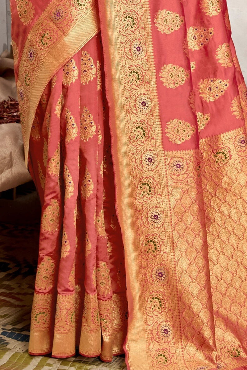 Blush Pink Designer Banarasi Silk Saree With Zari Bordered Blouse
