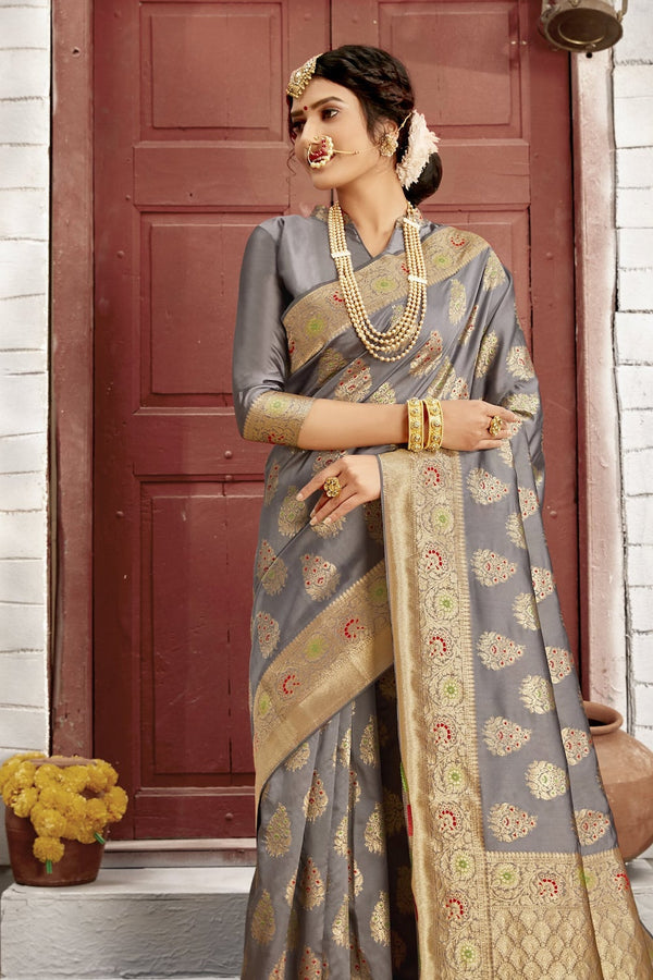 Pearl Grey Designer Banarasi Silk Saree With Zari Bordered Blouse