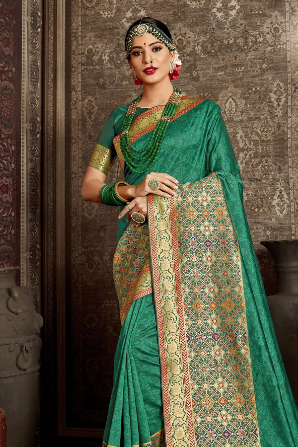 Persian Green Designer Banarasi Silk Saree With Zari Bordered Blouse