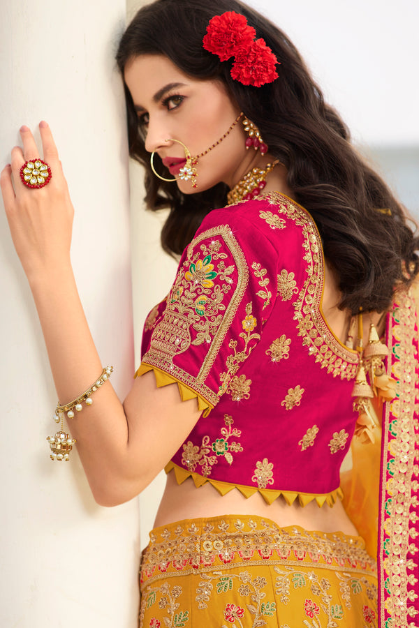 Yellow and Pink Heavy Embroidered Silk Designer Lehenga With Yellow Designer Net Dupatta