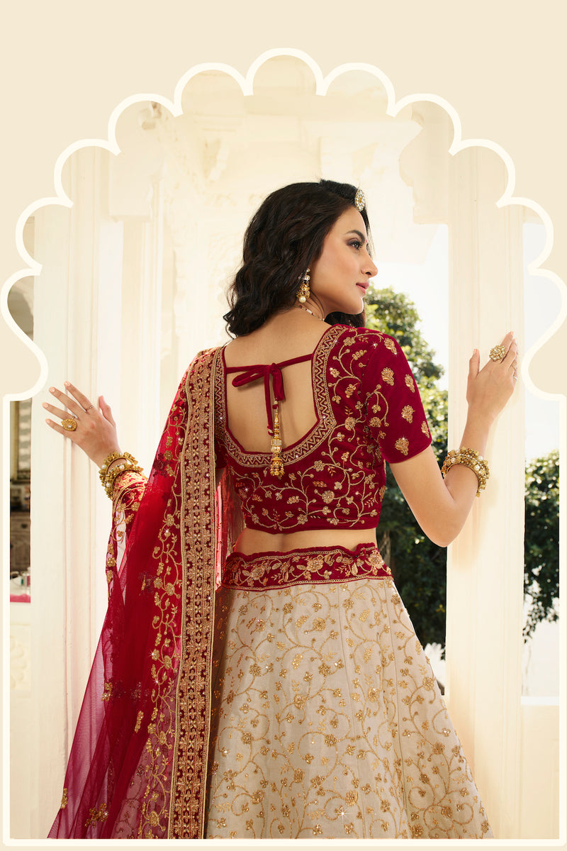 Ivory and Maroon Heavy Embroidered Silk Designer Lehenga With Designer Net Dupatta
