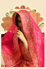 Peach and Pink Heavy Embroidered Silk Designer Lehenga With Designer Net Dupatta