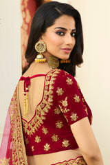 Gold Yellow and Maroon Heavy Embroidered Silk Designer Lehenga With Designer Maroon Net Dupatta