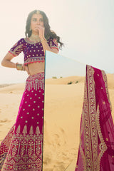 Queen Magenta Heavy Embroidered Silk Designer Lehenga With Designer Magenta Net Dupatta