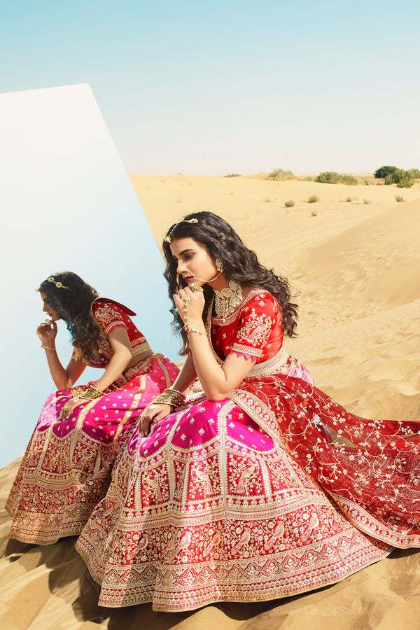 Precious Pink Heavy Embroidered Silk Designer Lehenga With Designer Red Net Dupatta