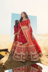Tiger Orange and Red Heavy Embroidered Silk Designer Lehenga With Designer Red Net Dupatta