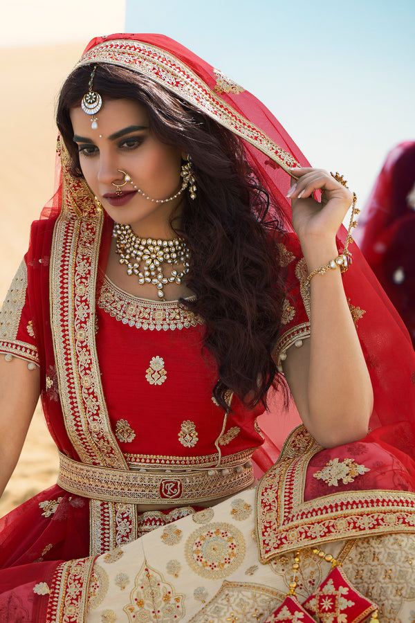 Ivory and Red Heavy Embroidered Silk Designer Lehenga With Designer Red Net Dupatta