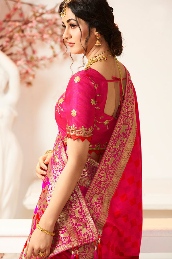 BOLD PINK & RED DESIGNER BANARASI SILK SAREE WITH PINK DESIGNER BLOUSE