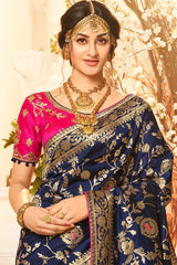 DENIM BLUE DESIGNER BANARASI SILK SAREE WITH CONTRAST PINK DESIGNER BLOUSE