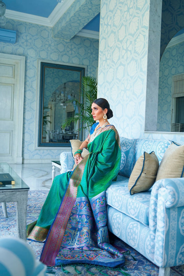 Herbal green Handwoven Tussar Silk Saree With Contrast Blue Zari Border Blouse