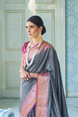 Gorgeous Grey Handwoven Tussar Silk Saree With Contrast Purple Zari Border Blouse
