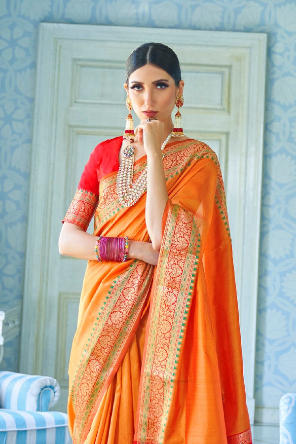Gold Orange Handwoven Tussar Silk Saree With Contrast Red Zari Border Blouse