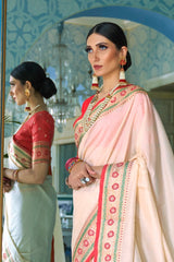 Ivory Handwoven Tussar Silk Saree With Contrast Red Zari Border Blouse