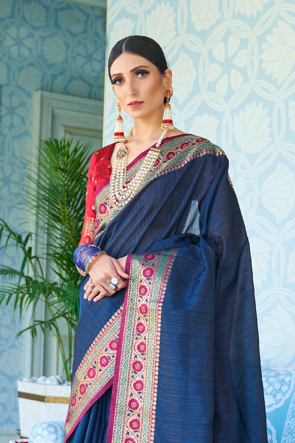 Royal Blue Handwoven Tussar Silk Saree With Contrast Red Zari Border Blouse