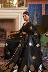 Dazzling Black Soft Silk Saree with Gold Zari Work and Unstitched Zari Detailing Blouse