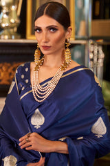 Dazzling Blue Soft Silk Saree with Gold Zari Work and Unstitched Zari Detailing Blouse