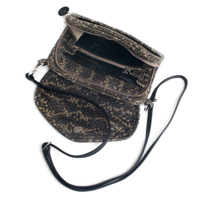 PETRA - taupe lizard print wallet bag