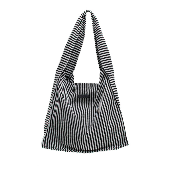 SIMONA - black and white striped square tote bag