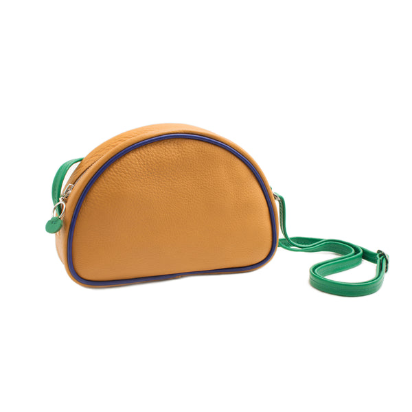 LUCIA - ochre indigo grass green small shoulder bag