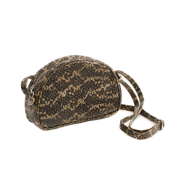 LUCIA - khaki lizard print small shoulder bag
