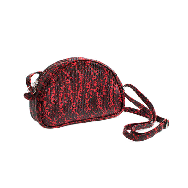 LUCIA - red lizard print small shoulder bag