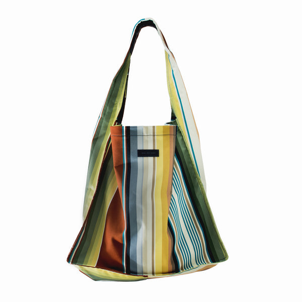 SIMONA - multi coloured striped square tote bag