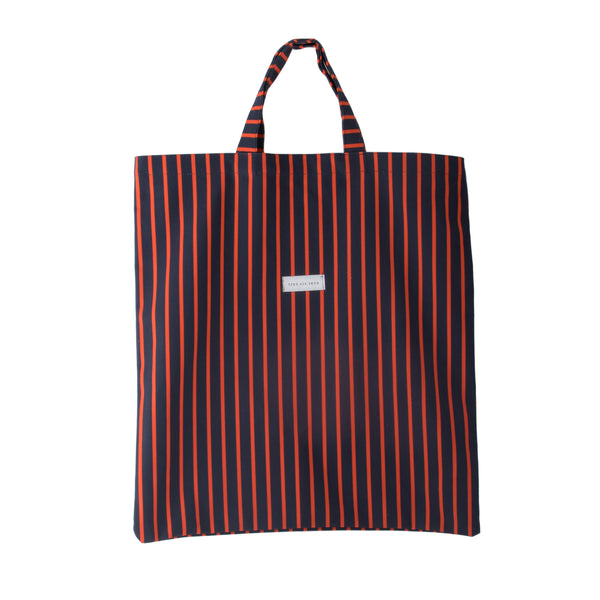 ERICA -  red and navy striped canvas carryall tote bag
