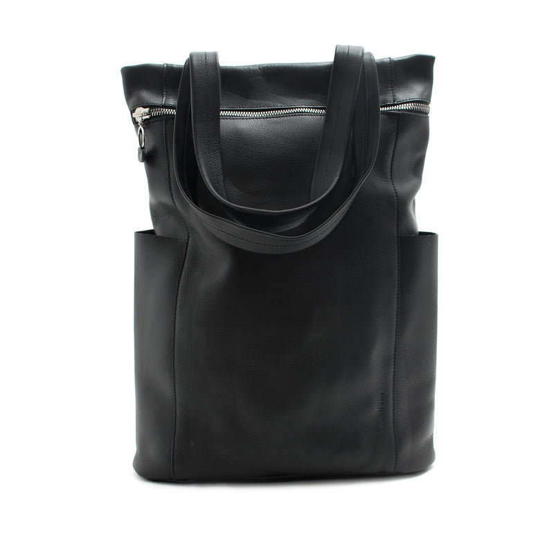 FELISA - black unisex leather backpack or tote