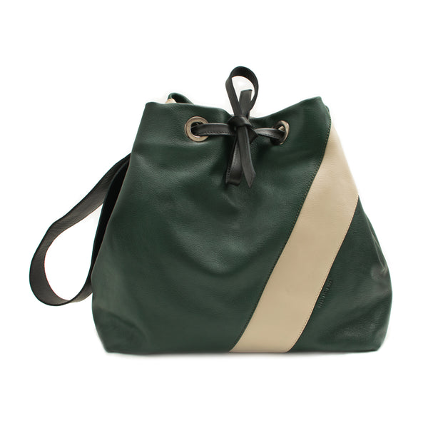JULIA - bottle green, sand and black drawstring shopping bag