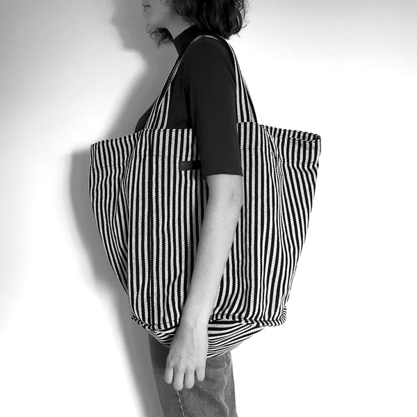 KALINDA - black and white striped carryall tote bag