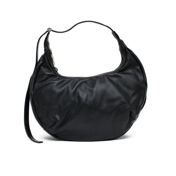 LUNA - black sustainable leather slouchy half-moon shaped shoulder bag or cross body