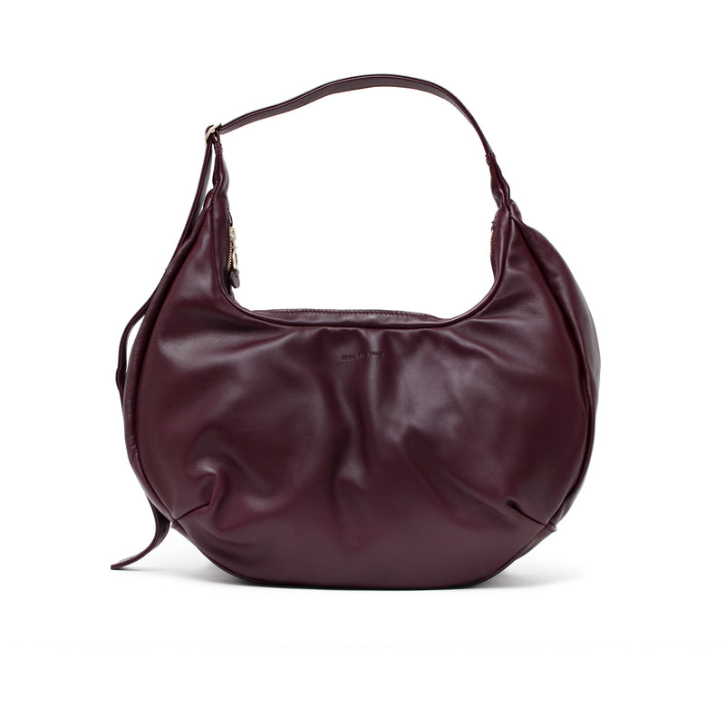 LUNA - merlot sustainable leather slouchy half-moon shaped shoulder bag or cross body