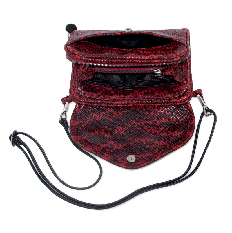 PETRA - red lizard print wallet bag