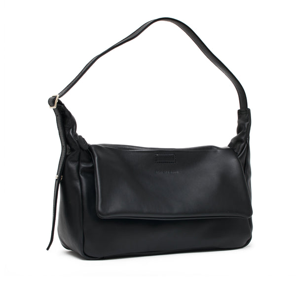 PRISM - black sustainable repurposed leather slouchy shoulder bag