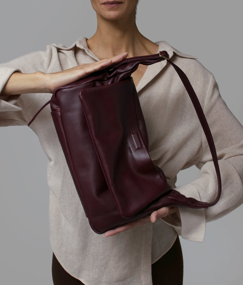 PRISM - merlot sustainable repurposed leather slouchy shoulder bag