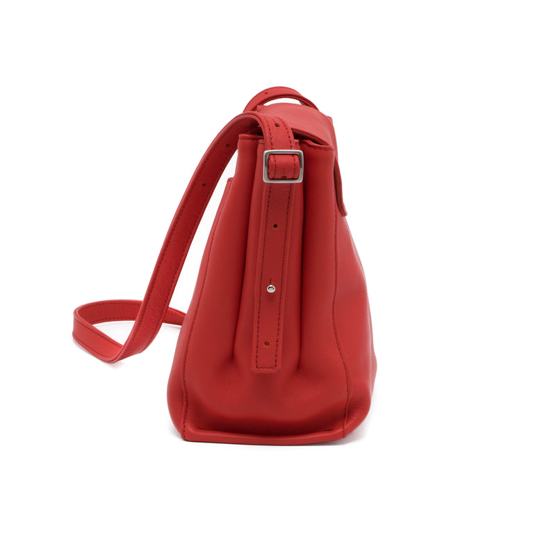 SEÑORITA - fiery red sustainable repurposed leather classic shoulder bag
