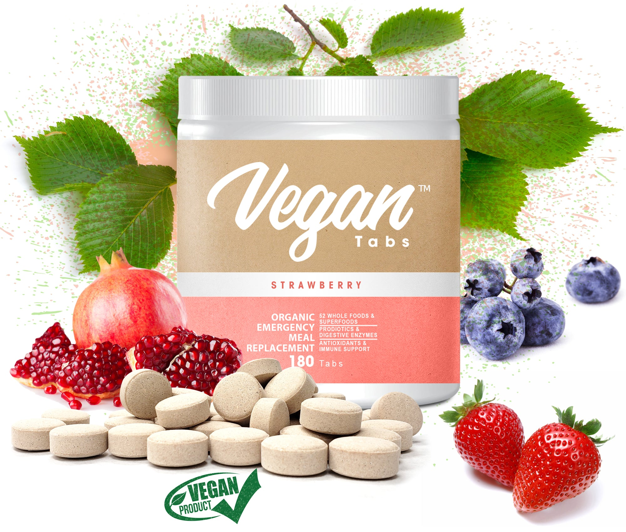 100% Pure Organic Plant-Based Vegan Protein tablets - Easy to Digest, Natural Unflavored, Dairy Free, Gluten Free, Soy Free, Sugar-Free, Non-GMO with BCAA 180 tablets, Strawberry