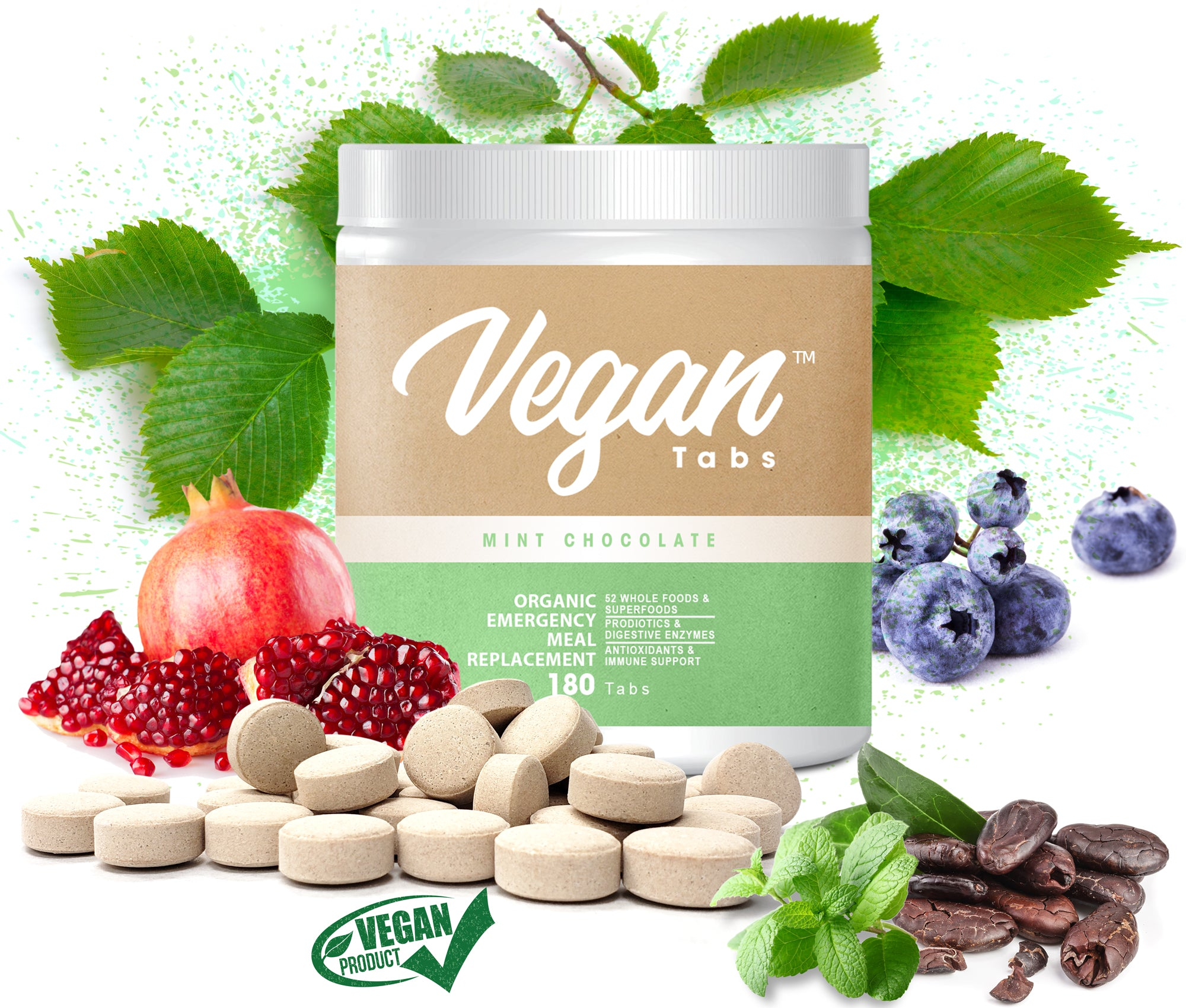 180 Organic Protein tablets, 20g of Plant-Based Protein for Women and Men, Probiotic, Vegan Friendly, Non-GMO, Gluten-Free, Dairy-Free, Soy Free, Mint Chocolate