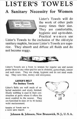 Lister's Towels Commercial Pads History of Menstrual Products