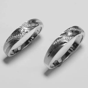 18K White Gold Diamond Couple Wedding Rings