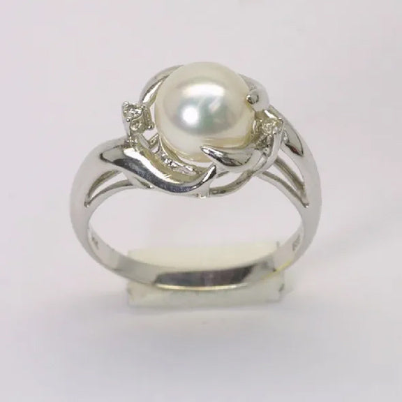 14K White Gold Diamond White Pearl Ring