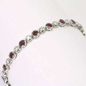 18K White Gold Diamond Ruby Bracelet