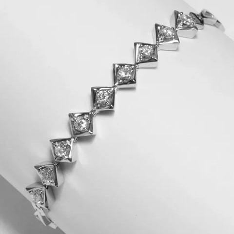 18K White Gold Diamond Bracelet D0.80CT