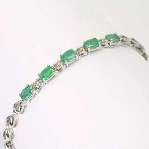 14K White Gold Diamond Emerald Bracelet