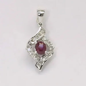 18K White Gold Diamond Ruby Pendant