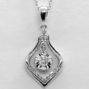 18K White Gold Diamond Pendant D0.16CT