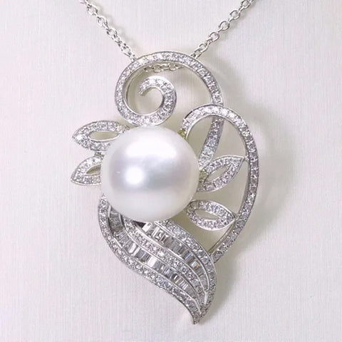 18K White Gold Diamond South Sea White Pearl Pendant